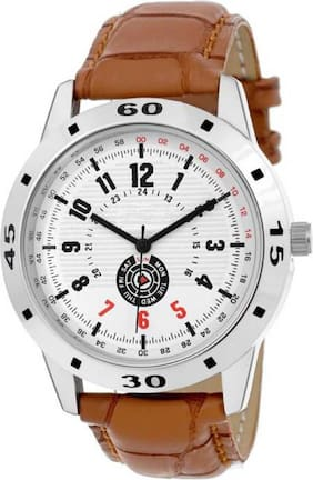 Miss Perfect White Dial Leather Men Watch