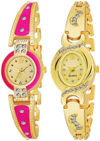 Miss Perfect Artist Rajwadi Designer Party-Wedding Pink Women And Girls Combo 2 Analog Watch - For Girls Wrist Watches Analog Watch