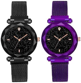 Miss perfect Casual Designer Black Dial Combo of Magnet Watch - Pair of 2 - for Women & Girls High Quality Metal Analog Watch - For Girls Magnetic Buckle Strap Analog Watch