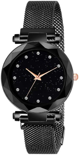 Miss perfect Luxurious Looking Black Dial Magnet Belt Girl And Women Combo Watches Analog Watch