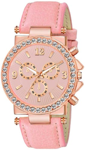 Miss perfect LADIES_833 FANCY LOOK BABY PINK DIAL- LEATHER STRAP WATCH Analog Watch -