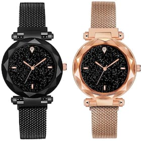 Miss perfect Casual Designer Black Dial Combo of Magnet Watch - Pair of 2 - for Women & Girls High Quality Metal Analog Watch