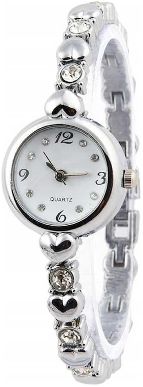 Miss perfect LADIES_778 WHITE DIAL WITH SILVER STONE ON STRAP WATCH FOR GIRLS Analog Watch