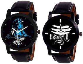 MISSPERFECT New Stylish MAHADEV Print Dial Leather Strap Combo of 2 MW011 Boys Watch - For Men watch Watch