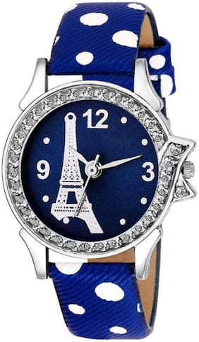 MISSPERFECT Blue Leather Strap Affil Tower Printed LIMITED~EDITION Women Watch