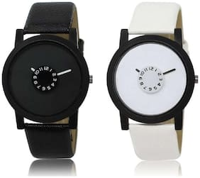 MISSPERFECT looking black and white Color Analougue Wrist Watch - For Boys & Girls Set Of 2 Watch - For Boys
