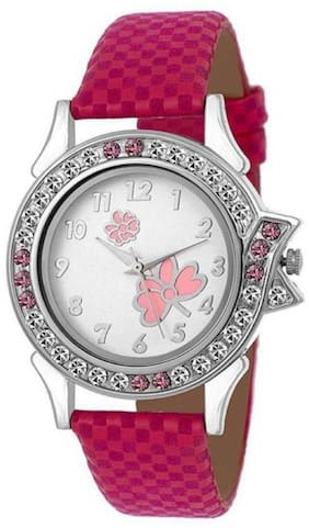 MissPerfect Pink Leather Butterfly Women And Girls Watch