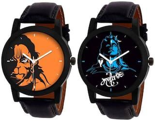MISSPERFECT Pack 2 New Stylish Designer Leather Belt Watch For Boys