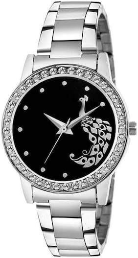MissPerfect LR4120 Silver Gem studded Crystal Collection Watch - For Girls