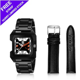Mkstone Analogue full Squre Black Dial Men's Analog Watch with Free LEATHER STAP110