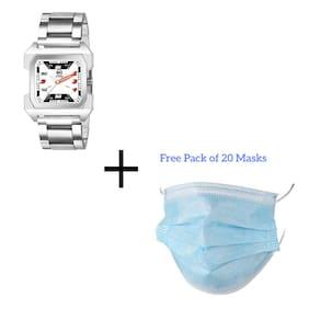 Mkstone Analogue Squre  white Dial Chain Men's Watch-108 (Free 20 Masks)