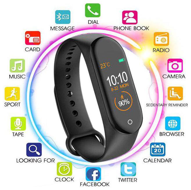 MSTC M4 Smart Bracelet Heart Rate Monitor Bluetooth Smartband Health Fitness Tracker...