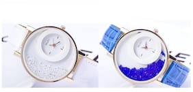 Mxre Blue-White Casual Fancy Analog Watches - Combo of 2(Pack of 5)