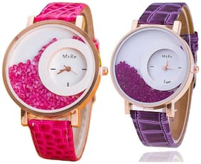 Mxre Pink-Purple Casual Fancy Analog Watches - Combo of 2(Pack of 5)
