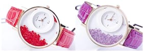Mxre Red-Purple Casual Fancy Analog Watches - Combo of 2(Pack of 5)