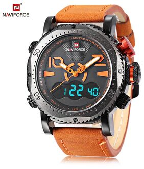Naviforce NF9094M Male Dual Movt Orange Business Watch Pin Buckle Leather Alarm Chronograph Calendar Men Wristwatch From Best Buy Store # International Bazaar
