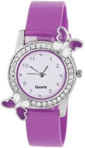 New Arrival Cute Butterfly stylish Diamond Studded Premium Quality PU Belt Watch - For Women