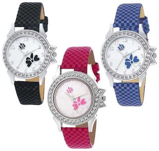 New Arrival Cute Butterfly Diamond Studded Dial Stylish Combo Watch - For Women