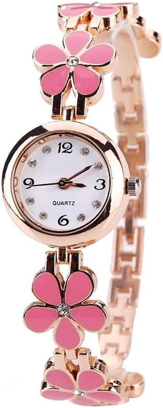 New Arrival Rose Gold plated White dial Pink flower design ceramic belt stylish watch for women's & girl