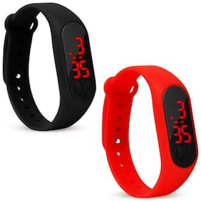 New Arrival Black & Red Strep Combo Digital stylish Watch For Boys & girls