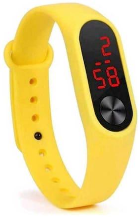 New Arrival Black Dial Yellow Strep Digital stylish Watch For Boys & girls
