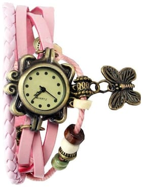 New Attractive Light Pink Leather Butterfly Dori Watch For Girl & Women