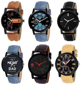 New Collection New Model High-Quality Genuine Leather Combo Set Of 6 Men's Watches