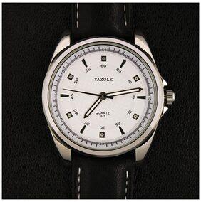 New Concise Men Watches Fashion Quartz Watch(White Dial Black Strap)