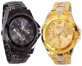 New Desdign Rosra Stylisht Gold & Black Watch For Mens