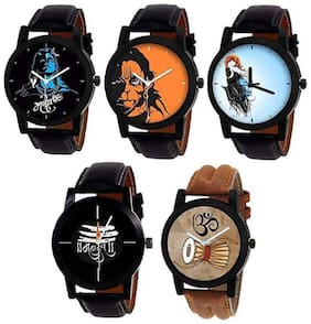 New Fancy Dial Designer Unique Genuine Leather Strap Club Combo Pack Of 5 Men's Watch