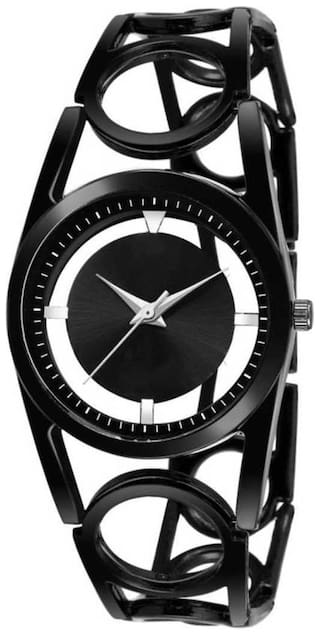 New Fashion Open dial Stylish Designer Black Color dial with Diamond Attractive look for girl Watch Analog Watch - For Girls