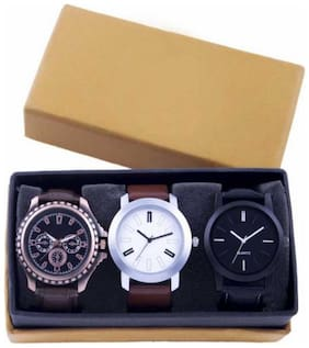 New Fasttrack Collection Genuine Leather Club Combo Pack Of 3 Men's Watches