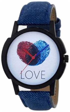 New Love Finger Print Dial Blue Leather Strap Watches Watch Analog Watch - For Boys