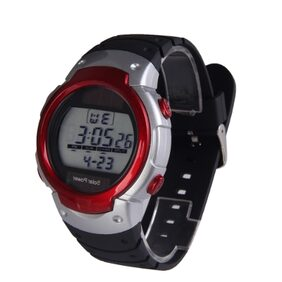 Solar Power Sport Unisex Watch With Calendar El Backlight Stopwatch Red