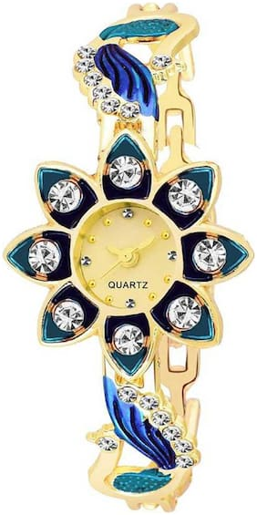 New Stylish Blue Golden Diamond Studded SunFlower Watch For Girl Watch - For Women
