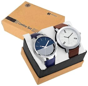 new stylish sliver round watch for combo pack of 2 men's watch