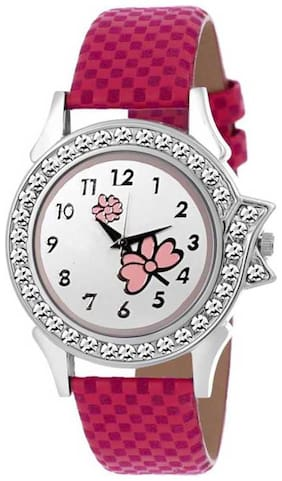 New Unique Collection Pink Flower Dial Leather Belt Watch For Girl Watch