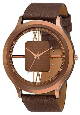 NEWMEN Brown Stylish Open Dial Leather Analog Watch For Men & Boy