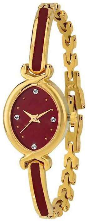 Niyati Fab Bracelate Pattern Golden Red Dial ~ JEWELLERY ~ Designer Watch For Girls Watch - For Women