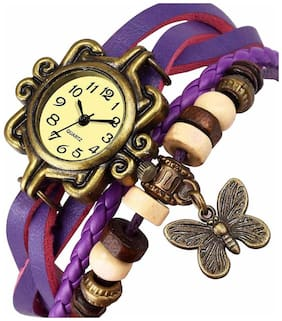 Niyatifab Best Selling Womans Watches Retro Fashion Leather Butterfly Womans Bracelet Watch For Girl's And Women