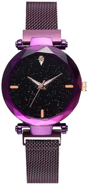 NiyatiFab Luxury Mesh Magnet Buckle Starry sky Quartz Watches For girls Fashion Clock Mysterious Purple Lady Analog Watch - For Women