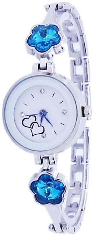 NiyatiFab New Designer Stylish Sky Blue Dial Sliver Belt Bracele New Fashion Watch For Girls Watch - For Girls