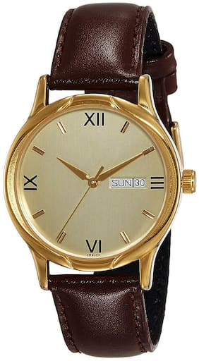 NiyatiFab New Fashion Full Silm leather Strap Sporty~Modish Boys And Men's Bew Look Fabouls  Gold  Dial Analog for Men