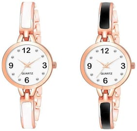 NiyatiFab  New Fashion Stylish Designer White Color dial with Diamond Attractive look for Combo girl Watch Watch - For Girls