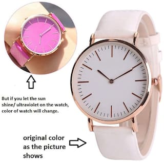 NiyatiFab New Fashion Discolor Women and Girls Watches Simple Style Minimal Leather watch