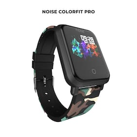 Noise ColorFit Pro Smartwatch - Urban Camo Green | Bluetooth Smart Band with Detachable Strap | Wide Screen Waterproof | Sports and Activity Tracker | Camera and Music Control Features