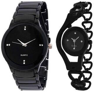 NURPI IIK-BLACK black CHAIN Analog Watch - For Couple