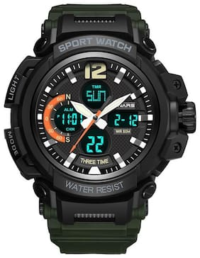 PANARS Analogue-Digital Quartz Movement Multifunctional Black Dial & Green Strap Water Resistant Sports Men's Watch - (8205)