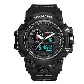 PANARS Analog-Digital Quartz Movement Multifunctional Black Dial & Strap Water Resistant Sports Men's Watch - (8202)