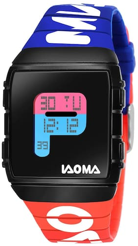 Piaoma Digital Black Dial Digital Boy's and Men's Watch - 9083BlueRed